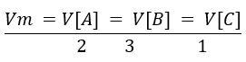 Cálculo da velocidade média com o coeficiente estequiométrico