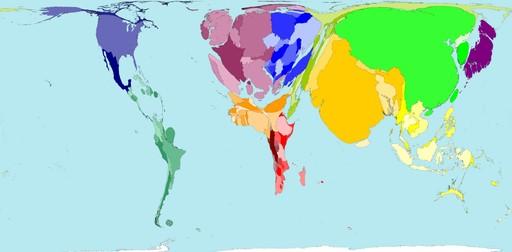 mapa população mundial
