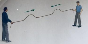 ondas estacionárias exemplo dois homens segurando corda