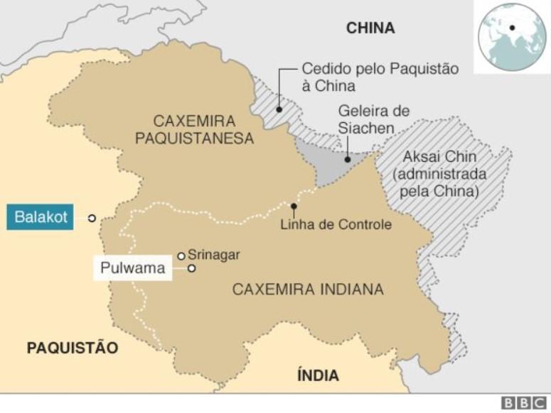 mapa do conflito na caxemira