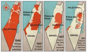 Disputa de territórios entre Judeus e Palestinos em Israel