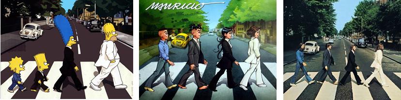"""Um exemplo de como usar a intertextualidade no texto e nas imagens. A imagem é uma composição de três outras imagens. A última é a clássica fotografia dos Beatles atravessando uma faixa de segurança na rua Abbey Road, em Londres. Já as duas primeiras imagens são sátiras dessa fotografia: a primeira contém personagens do seriado The Simpsons e a segunda contém os personagens dos quadrinhos """"Turma da Mônica Jovem"""", ambos os grupos atravessam a referida rua de Londres, como na foto da capa do disco Abbey Road, do Beatles."""