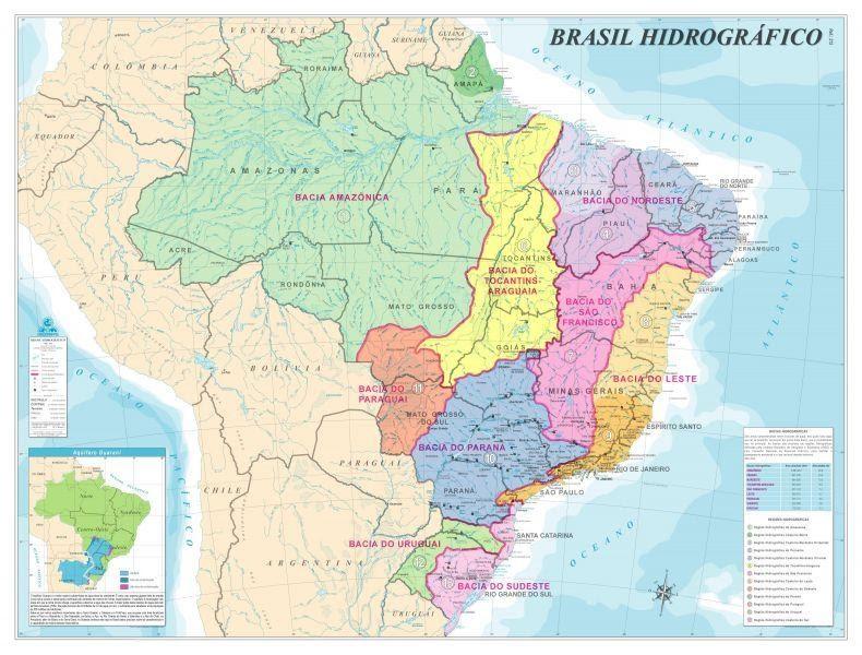 Mapa mostrando as principais bacias hidrográficas brasileiras