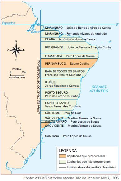 Mapa das capitanias hereditárias