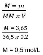 Exemplo de cálculo de molaridade