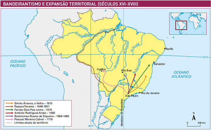 Mapa das principais expedições dos bandeirantes