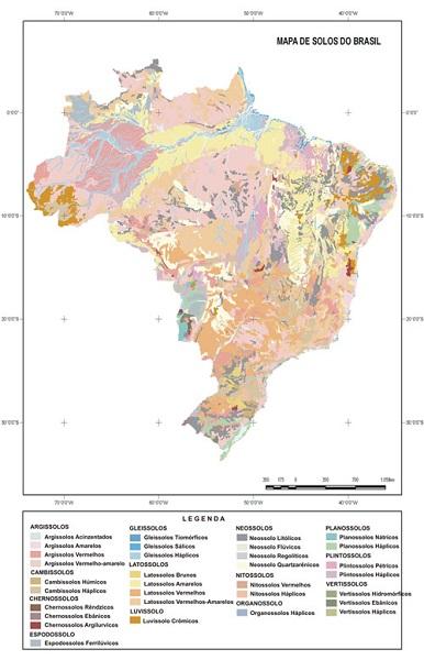 distribuição tipos solo do Brasil