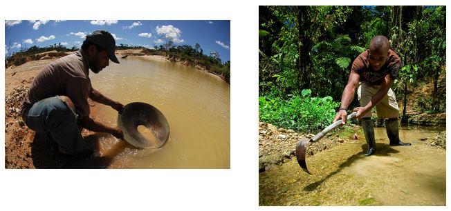 Bateia e almocafre - trabalho escravo nas minas