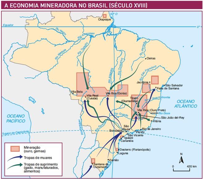 Mapa rotas do ciclo do ouro