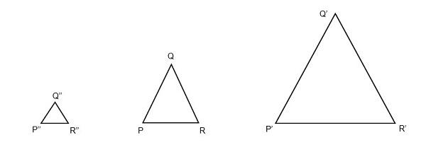 Redução e aumento de triângulos - Homotetia