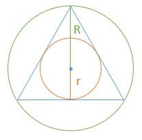 Exercício com triângulo inscrito e circunscrito