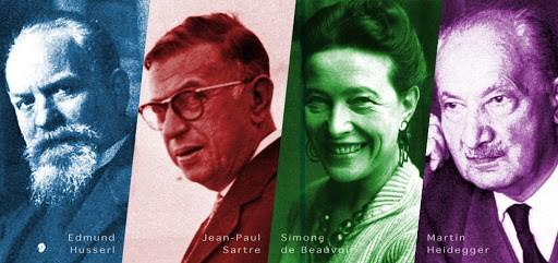 Montagem com os principais filósofos existencialistas do século XX