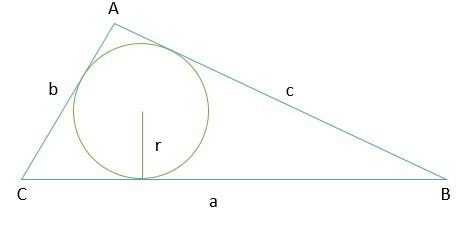 triângulo com circunferência inscrita
