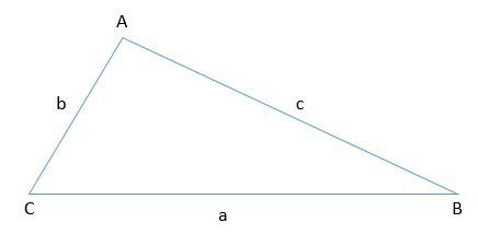 triângulo com lados a b e c