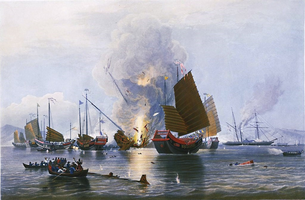 Pintura representando um bombardeio britânico aos domínios chineses durante a Guerra do Ópio.