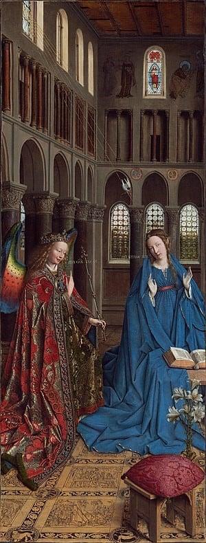 Pintura em afresco da arte românica, A Anunciação, de Jan Van Erick.