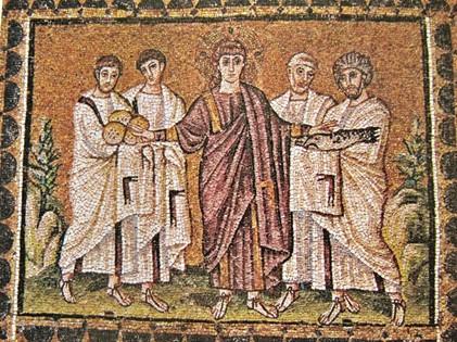 O milagre dos pães e dos peixes, 520 d. C. - arte bizantina