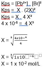 cálculo do produto de solubilidade kps