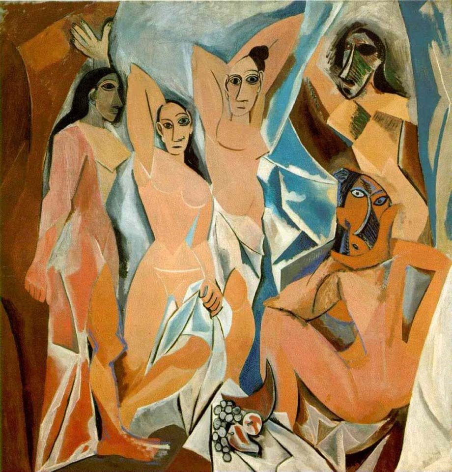 Pintura As senhoritas de Avignon inspirada na arte africana, de 1907, de Pablo Picasso