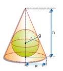 Cone circunscrito à esfera - inscrição e circunscrição