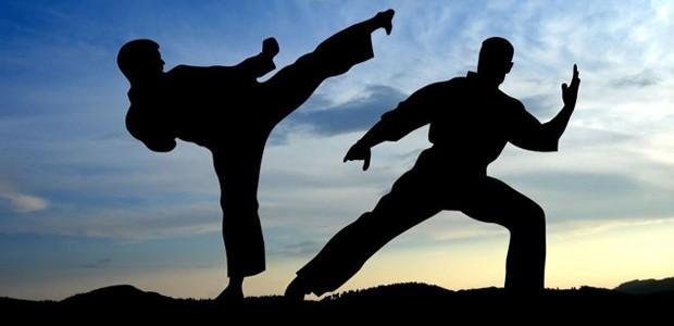 Fotografia de duas pessoas praticando uma arte marcial.