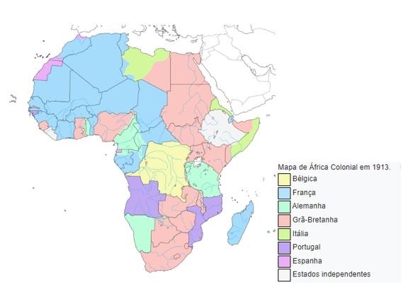 Mapa representando a partilha da África entre as nações europeias utilizando uma legenda de cores.
