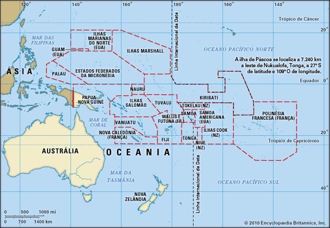 Mapa da Oceania mostrando os países que a compõem. Disponível em CDN britânica