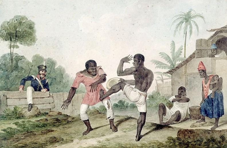 Pintura representando negros lutando capoeira.