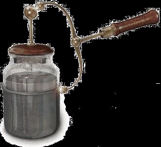 Representação do primeiro dispositivo capaz de armazenar cargas elétricas: garrafa de Leyden.