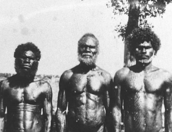 fotografia em preto e branco de três homens aborígenes em pé e sem vestimentas da cintura para cima. A foto pertence ao arquivo nacional da Austrália.
