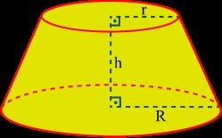 Representação isoladamente do tronco de cone com seus elementos.
