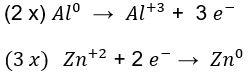 Multiplicações na equação de pilha de alumínio e zinco