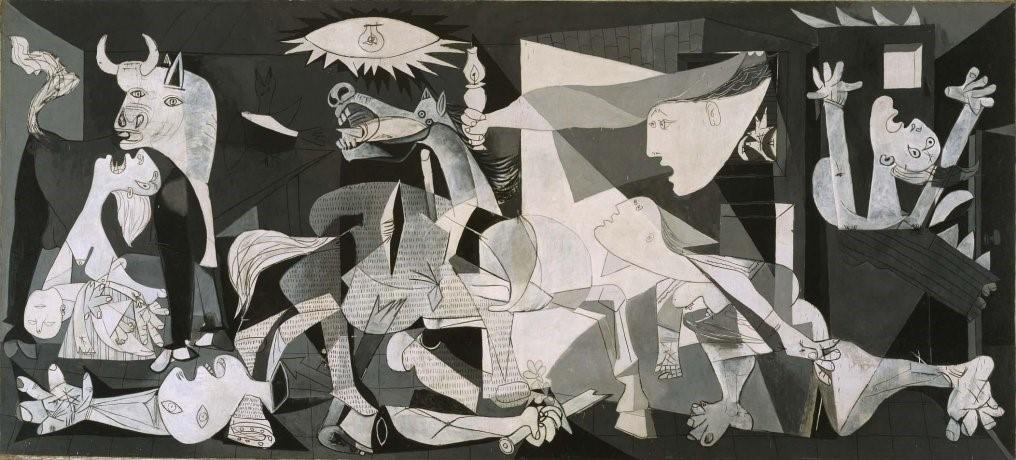 Guernica, tela do pintor espanhol Pablo Picasso, de 1937. Na imagem aparecem figuras humanas e animalescas, retratadas no estilo cubista, com expressões de desespero e desolação. As dimensões da obra são 349,3 x 776,6 cm e ela está no Museu Rainha Sofia, em Madrid. guerra civil espanhola