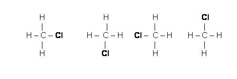 Fórmulas estruturais do clorometano - postulados de kekulé