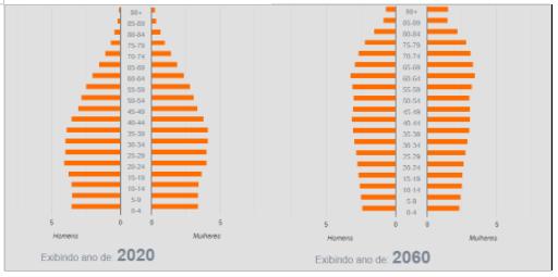 Pirâmides etárias da população brasileira em 2020 e projeção para o ano de 2060.