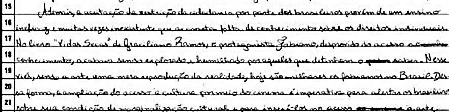 Trecho de redação nota 1000 da candidata Ana Flávia Pereira Fonte: INEP