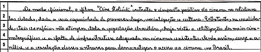 Trecho de redação nota 1000 da candidata Isabella Cardoso Fonte: Disponibilizada pelo INEP.