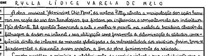 Trecho de redação nota 1000 da candidata Rylla de Melo. Fonte: INEP. - repertório cultural