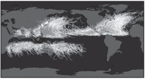 Simulado geral de geografia - Trajetória de ciclones tropicais