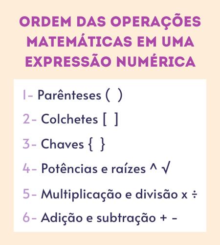 Ordem de operações nas expressões numéricas