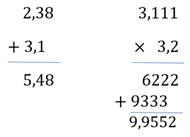 Operação com números decimais