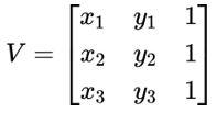 Determinante para cálculo de área de triângulo