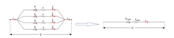 Forças eletromotrizes e resistências internas na associação de geradores em paralelo