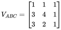 Matriz com coordenadas dos vértices de um polígono