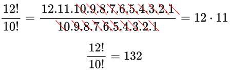 Simplificação de fatorial de 12 dividido por fatorial de 10