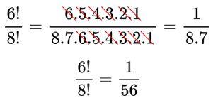 Simplificação de fatorial de 6 dividido por fatorial de 8
