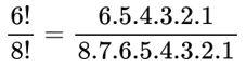 fatorial de 6 dividido por fatorial de 8