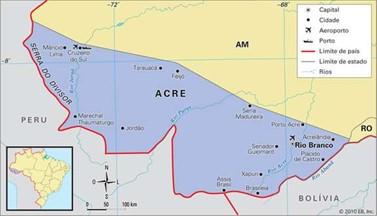Localização do Acre - Brasil e Bolívia